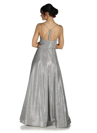 Pierre Cardin Simli Taş İşlemeli Uzun Abiye Elbise Gri